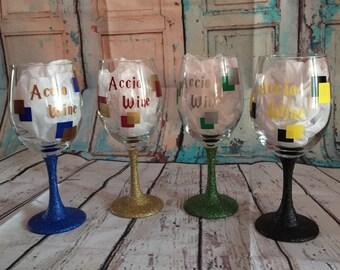 Accio Wine' Glittered Wine Glass