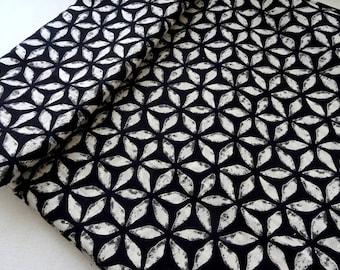 Black and white block print Indian cotton fabric, geometric print , black dress fabric, tissu indien, half yard