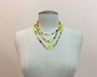 Vintage 1930s 1940s CZECH Mardi Gras glass Beads - long Czechoslovakia Beaded rope style Necklace- lg Yellow beads