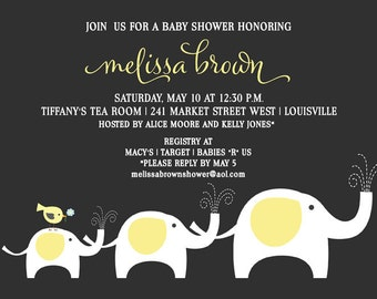 Elephant Baby Shower Invitation | Baby Shower Invitation | Yellow and Gray | Printable