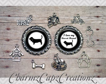 10pc Basset Hound Dog Charm Set/Lot/Collection with Bottle Caps /Jewelry, Scrapbooking, Crafts / Jewelry and/or Crafting Kit / Choose Images
