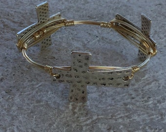Hammered Cross Bangle