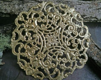 Raw Brass Stamping Extra Large Lace Medallion