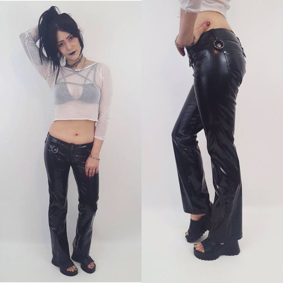 90s Vintage Goth Vinyl Pants Pants Size 3 - Extra Small Lip Service Low Waisted Faux Leather Bootcut Pant with Silver O Rings XS Goth