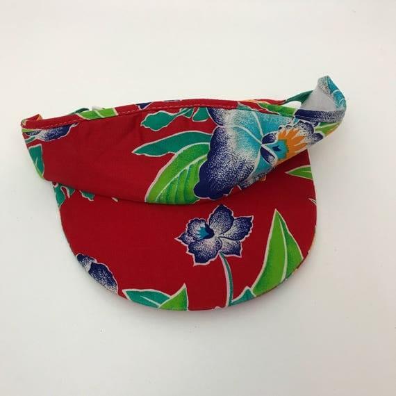 Tropical Print Sun Visor Hat - Womens Summer Beach Pool Visor 90's Sun Visor - Adjustable Sun Visor Red Floral Headwear Accessory