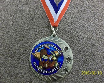 """Kindergarten Graduation, graduate medal, with neck ribbon, 2 3/8"""" diameter, with name & date engraved"""