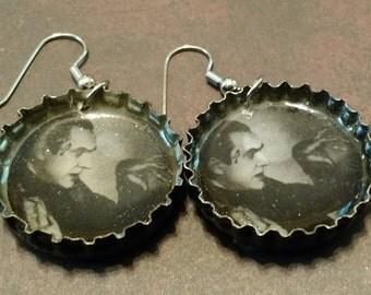 Dracula repurposed bottle cap earrings