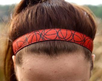 Glitter Basketball Sports Headbands for Girls - Athletic Headband Adult Basketball Gifts - Choice of Patterns - Basketball Headband