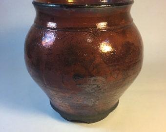 Copper raku vase