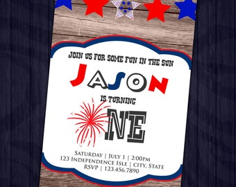 Fourth of July First Birthday Invitation - 4th of July Party Invite - Independence Day - Printable or Printed - SHIPPING INCLUDED - 4x6