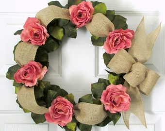 """Pink Rose Wreath with Natural Burlap Ribbon and Green Leaves, 14 inches, Grapevine Wreath, Spring, Summer Wedding, """"Cherish"""""""