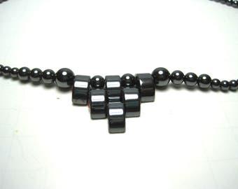 "Vintage Hematite Metallic Grey Bib Choker Necklace ~ 17"" Long  ~"