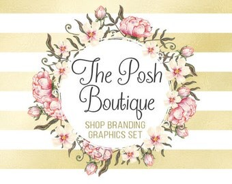 Floral Gold Shop Branding Banners, Avatar Icons, Business Card, Logo Label + More - 13 Premade Graphics Files - THE POSH BOUTIQUE