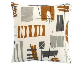 "Mid-Century modern accent Pillow -  TIki Barkcloth reproduction - 17"" X 17"""