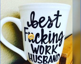 Mature Best f*cking work husband- work wife-co-worker coffee mug  - office humor- co-worker gift- funny coffee mugs for coworkers-coffee mug