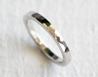 Platinum hammered ring wedding ring