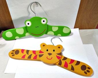 Lot of Two Vintage Colorful Children's Hangers Tiger Frog