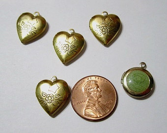 Lot of Four Etched Miniature Heart Locket Charms or Pendant One w Green Acrylic