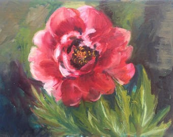 2017 SPRING STUDIO SALE : 12x16 Oil Painting of Peony