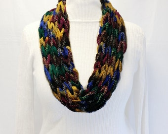 Multi Color Infinity Scarf, Knit Yarn Necklace, Green Blue Burgundy Gold Sparkle Knit Cowl, Sashay Metallic Yarn Necklace, Winter Scarf