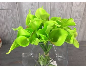 "14"" Faux Natural Touch Calla Lilies, Green, 12 pieces,"