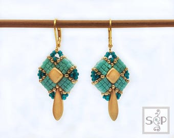 "MaterialKIT  earrings ""True Turn""  turquoise/gold"