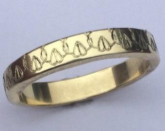 Happy Vagina Ring Engraved 4mm Wide 14K Gold