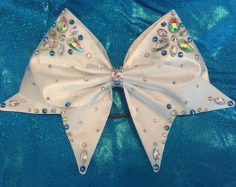 White Satin handsewn bow with AB crystal rhinestones and jewels