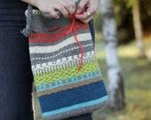 Color Mix Hand-woven Bag  - Crossbody Woman Bag - Spring Handmade Bag - Hippie Bag - Winter Were - Colorful Big Bag - Big Crossbody Bag