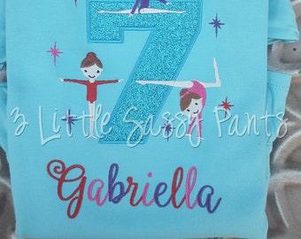 Girls Gymnastic Birthday Shirt- Custom Girls Birthday Shirt-  Embroidered- Applique- Girls Birthday Shirt