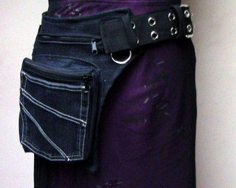 Upcycled black jeans hip bag with metal buckle * Utility belt made of a repurpused jeans