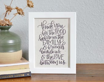 Thank You Prayer - Calligraphy on Handmade Paper - Food Family and Love Quote - Family Home Decor - Art Print