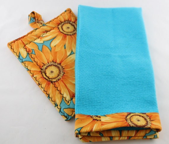Turquoise Kitchen Towels: Kitchen Towel Set Turquoise Aqua Towel With Sunflowers