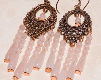 Copper and rose quartz chandelier earrings