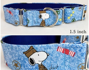 Military Snoopy Peanuts dog collar