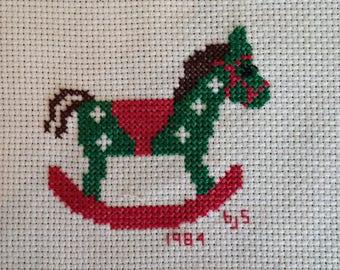 Cross Stitch Rocking Horse - Christmas 1984