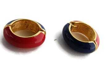 4th July Vintage hoop earring Enamel hoop clip ons Small hoop earring Red enamel earring Blue enamel KJL signed Summer colorful earring