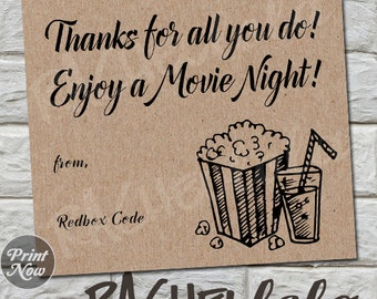 Redbox Code Gift Tag, kraft thank you, digital, instant download