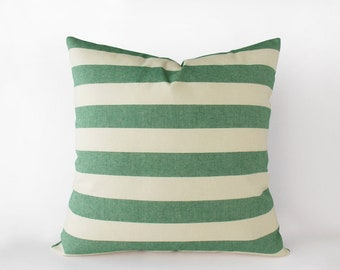 Striped green and beige decorative pillow cover in 16x16 inches - 18x18 inches - 20x20 inches and more sizes, indoor and outdoor decor