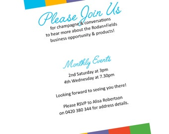 Rodan + Fields Event Invitation - Consultant Tools - Personalized