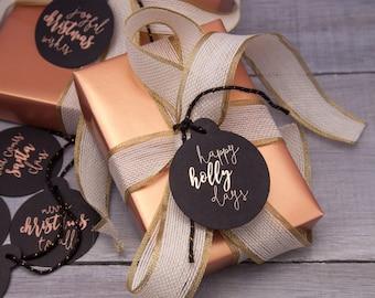 ON SALE // Rose gold foil letterpress Christmas tags