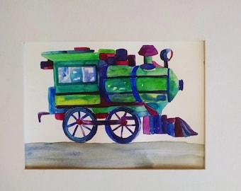 Boy room train painting, original watercolor painting, boy nursery art