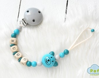 Personalized Pacifier Holder, YOUR BABY NAME, Dummy, Soother, Binky Holder Clip,Wood Beads