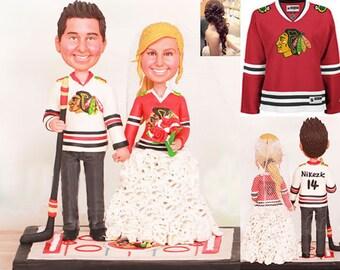 Personalised wedding cake topper -Chicago Blackhawks Wedding Cake Toppers (Free shipping)