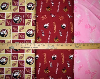 NCAA Florida State Seminoles Garnet & Gold College Logo Cotton Fabric by Sykel! 7 Options! [Choose Your Cut Size]
