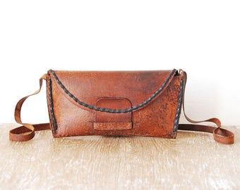 Crossbody Leather Bag, Vintage Tooled Handbag, Handmade Small Shoulder Bag, Vintage Brown Leather Handbag, Leather Teen Purse