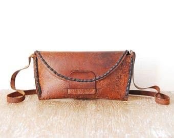 Old Crossbody Tooled Leather Handbag, Handmade Small Shoulder Bag, Vintage Brown Leather Handbag, Leather Teen Purse
