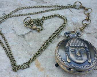 Pocket Watch in long necklace, Buddha, zen, bronze antique