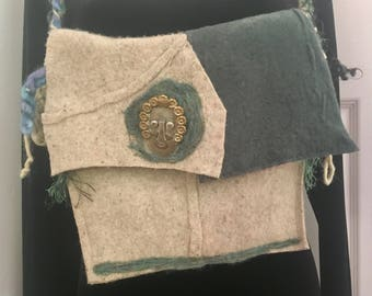 Handmade up-cycled felted wool vintage fall purse messenger bag