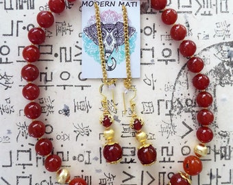 18k gold filled beads and Matilu ( earchain ), deep red genuine Carnelian earrings and necklace set